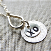 XO Necklace, Monogram Mom Jewelry, Sterling Silver