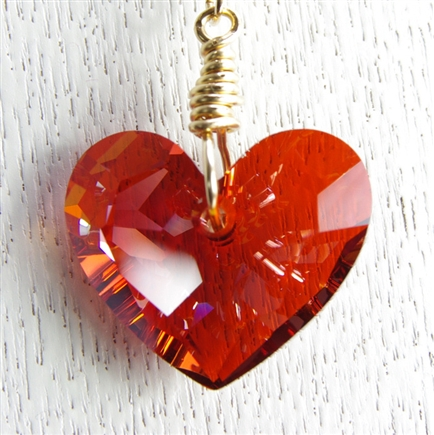 Swarovski Heart Necklace, Valentine Jewelry, 14kt Gold Filled, Red, Heart Pendant, Swarovski Crystal Jewelry, Chain Necklace