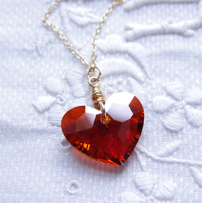 Swarovski heart necklace valentine jewelry 14kt gold filled red swarovski heart necklace valentine jewelry 14kt gold filled red heart pendant swarovski crystal jewelry chain necklace aloadofball Image collections
