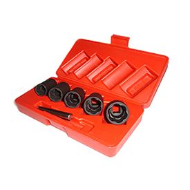 Locking Security Lug Nuts and Damaged Lug Nuts are no match for this socket set. Simply tap the socket onto the lug nut and spin it off with a breaker bar or socket wrench.
