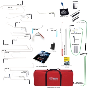 Our most complete locksmith set available, the Super Pro includes every accessory tool and enough long reach tools to concur any vehicle. The perfect set for the professional who wants to make sure all of the bases are covered when arriving on scene.