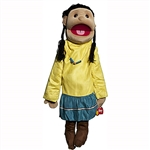 "American Indian Girl Puppet, Yellow Shirt (28"")"