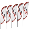 Five Bundled 11ft Medium Crest Flags - Double-Sided