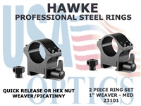 "HAWKE PROFESSIONAL STEEL RINGS - 1"" 2 PIECE WEAVER MEDIUM"