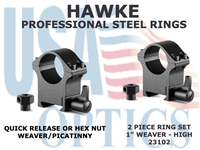 "HAWKE PROFESSIONAL STEEL RINGS - 1"" 2 PIECE WEAVER HIGH"