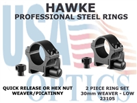 HAWKE PROFESSIONAL STEEL RINGS - 30mm 2 PIECE WEAVER LOW