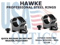 HAWKE PROFESSIONAL STEEL RINGS - 30mm 2 PIECE WEAVER MEDIUM