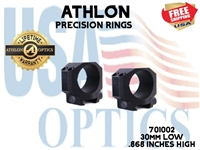 ATHLON PRECISION RINGS 30mm LOW .868 INCHES HIGH