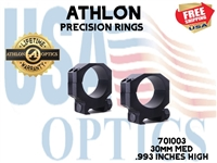 ATHLON PRECISION RINGS 30mm MED .993 INCHES HIGH