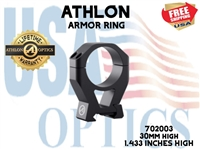 "ATHLON ARMOR 30mm HIGH HEIGHT (1.433"") SCOPE RING"