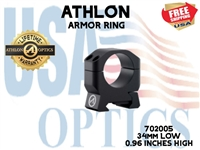 "ATHLON ARMOR 34mm LOW HEIGHT (0.96"") SCOPE RING"