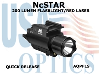 NcSTAR 200 LUMENS FLASHLIGHT & RED LASER with QR Mount