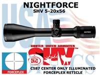 NIGHTFORCE SHV 5-20x56 FORCEPLEX CENTER ONLY ILLUMINATED