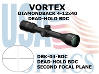 VORTEX DIAMONDBACK RIFLESCOPE 4-12x40 DEAD-HOLD BDC RETICLE MOA