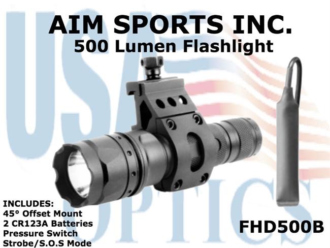 500 Lumen Tactical Light with pressure pad: FHD500B