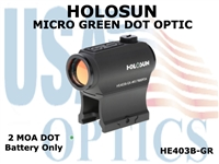 HOLOSUN MICRO DOT OPTIC - GREEN -  BATTERY ONLY