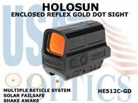 HOLOSUN ENCLOSED REFLEX SIGHT - GOLD - BATTERY/SOLAR
