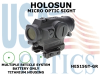 HOLOSUN MICRO OPTIC SIGHT - GREEN - BATTERY ONLY -TITANIUM
