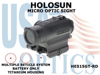 HOLOSUN MICRO OPTIC SIGHT - RED - BATTERY ONLY - TITANIUM