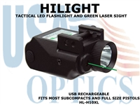 HILIGHT TACTICAL 800 LUMEN FLASHLIGHT AND GREEN LASER
