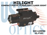 HILIGHT COMPACT  PISTOL RED LASER/500 LM LIGHT