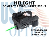 HILIGHT PISTOL GREEN LASER SIGHT - RECHARGEABLE
