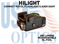 HILIGHT PISTOL GREEN LASER/300 LM LIGHT WITH STROBE - RECHARGEABLE