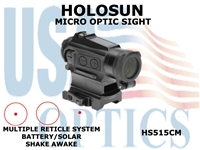HOLOSUN MICRO OPTIC SIGHT - RED - SOLAR/BATTERY