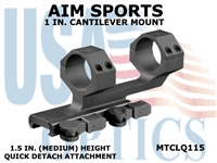 AIM SPORTS 1 IN. CANTILEVER MOUNT - 1.5 IN. (MEDIUM) HEIGHT - QUICK DETACH