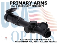 PRIMARY ARMS SLx 1-6x24mm SFP RIFLE SCOPE GEN III - ACSS GRIFFIN MIL/MULTI-CALIBER RETICLE