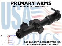 PRIMARY ARMS SLx8 1-8x24mm SFP RIFLE SCOPE - ILLUMINATED ACSS-GRIFFIN-MIL