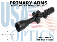 PRIMARY ARMS SLx3.5 4-14x44mm FFP RIFLE SCOPE - MIL-DOT