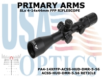 PRIMARY ARMS SLx3.5 4-14x44mm FFP RIFLE SCOPE - ILLUMINATED ACSS-HUD-DMR-5.56 RETICLE