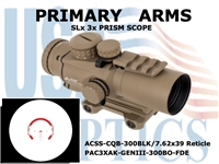 PRIMARY ARMS SLX 3x32mm GEN III PRISM SCOPE - ACSS-CQB-300BLK/7.62x39 RETICLE - FLAT DARK EARTH
