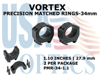 VORTEX PRECISION MATCHED RINGS 34mm - 1.10 INCHES - 27.9 mm