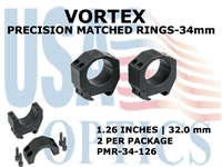 VORTEX PRECISION MATCHED RINGS  34mm - 1.26 INCHES - 32.0 mm