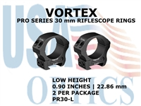 VORTEX PRO SERIES 30 mm RIFLESCOPE RINGS - LOW HEIGHT [0.90 Inches | 22.86 mm]