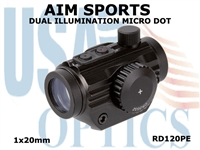 AIM SPORTS 5 MOA MICRO DOT 1x20mm DUAL ILLUMINATED