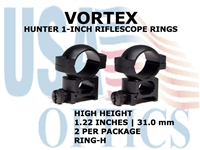VORTEX HUNTER RIFLESCOPE RINGS 1 INCH HIGH 1.22 Inches - 31.0 mm