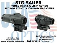 SIG SAUER ROMEO4H 1x20mm WITH JULIET4 4x MAGNIFIER COMBO