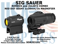 SIG SAUER ROMEO5 1x20mm WITH JULIET3 3x MAGNIFIER COMBO