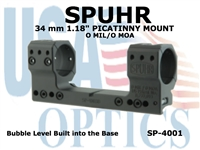 SPUHR 34mm PICATINNY MOUNT 0MIL/0MOA - 1.18""