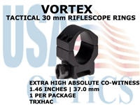 VORTEX TACTICAL RIFLESCOPE RING (1) - 30mm EXTRA HIGH ABSOLUTE CO-WITNESS - 1.46 Inches - 37.0 mm
