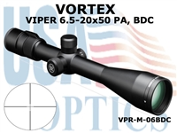 VORTEX VIPER RIFLESCOPE 6.5-20x50 PA, DEAD-HOLD BDC (MOA) RETICLE