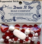Peppermint Sticks Glass Beads Dress It Up  #2532 from Jesse James