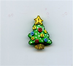 Christmas Tree Decorated Green Button 3D-4278