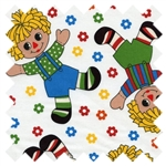 Holly's Dolls Raggedy Ann and Andy White 8007-019 for Blue Hill Fabrics