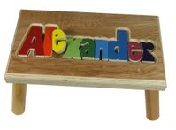 Puzzle Step Stool Maple -Long Name 12 Letters
