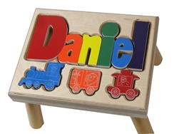 Train Regular Name Stool Maple- 8 Letters