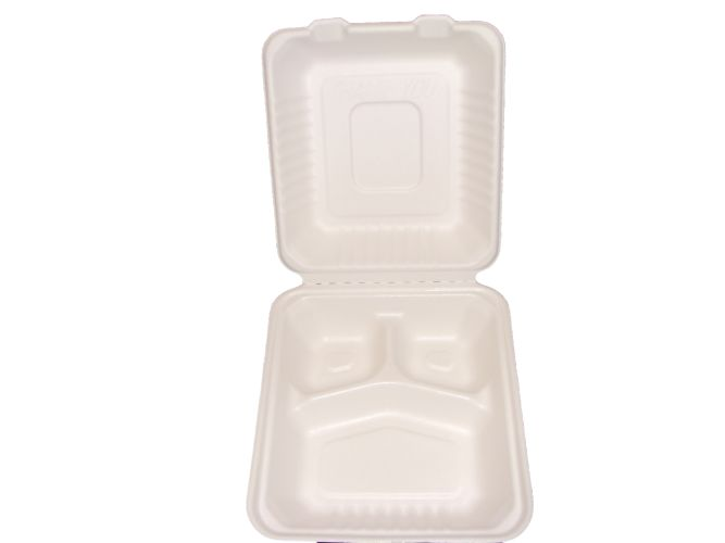 "Bagasse Hinged Lid Container,  Deep Medium 3-Section 7.875 X 8 X 3.19""-Pla Lined - 160/Cs (2 X 80)"